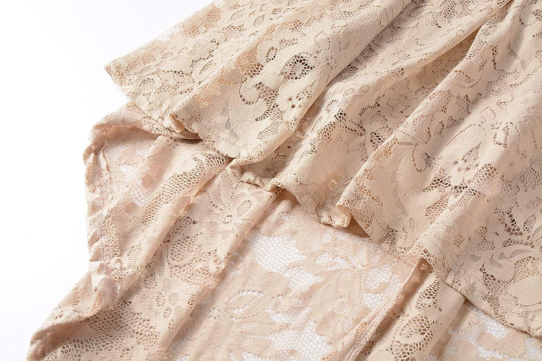 Women Vintage Floral Lace V Neck Party Dress Short Sleeves Hi-Lo Cocktail Dress