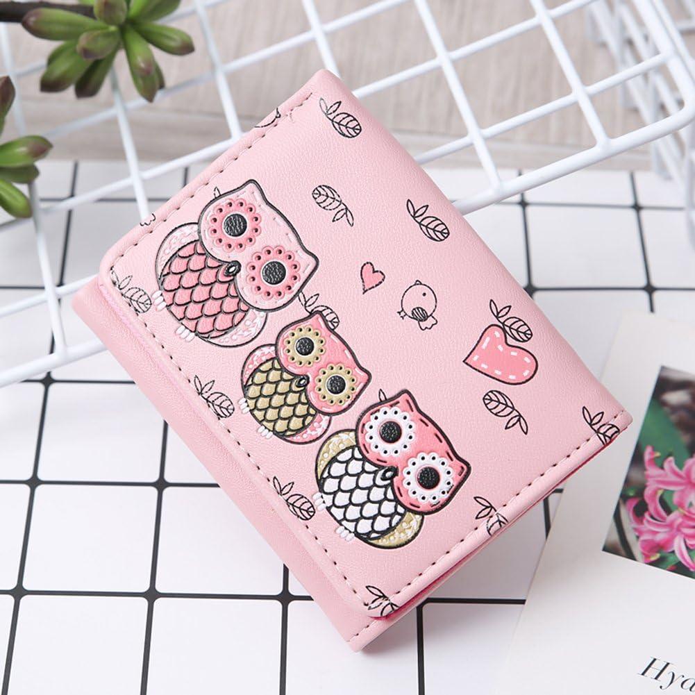 GlobalDeal Direct Women Girls Purse Cartoon Owls Pattern Faux Leather Tri-fold Mini Wallet Coin Bag Creative