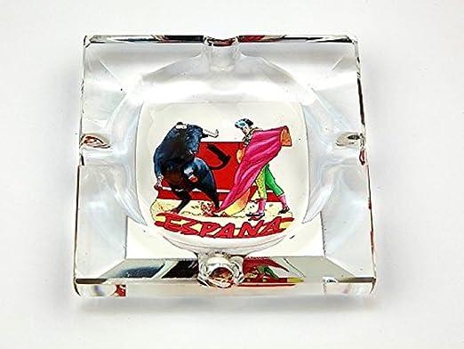Cenicero de cristal ESPAÑA decoración corrida toros 8x8cm: Amazon ...