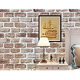Lena(レナ) 壁紙 はがせる レンガ 壁紙シール ウォールステッカー 防水 簡単 貼り付け 選べるデザイン 45cmX10m (ノスタルジックブラウンレンガ)