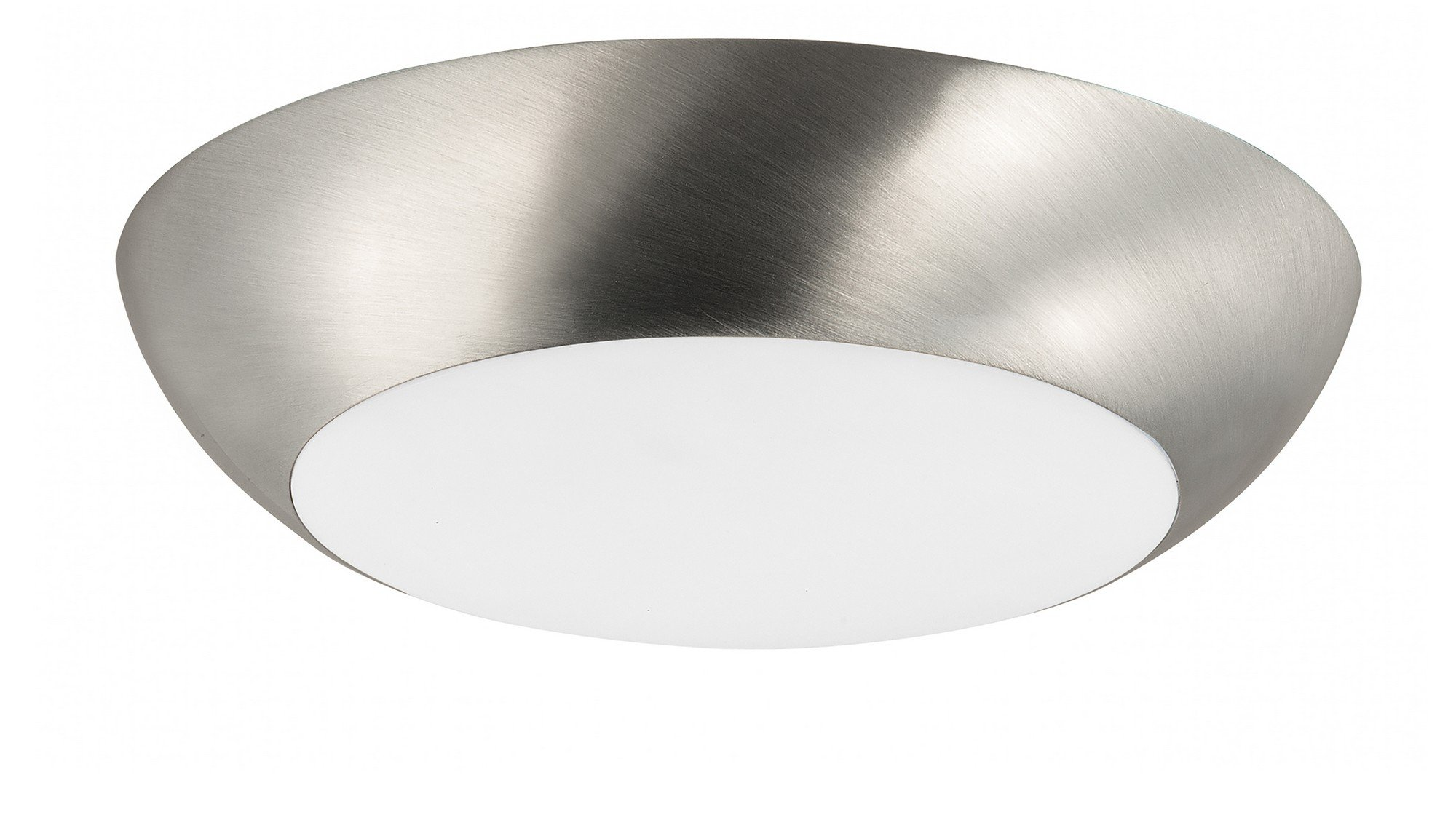 Maxim 87612WTSN Diverse LED Flush Mount, Satin Nickel Finish, White Glass, PCB LED Bulb , 100W Max., Wet Safety Rating, Standard Dimmable, Shade Material, Rated Lumens