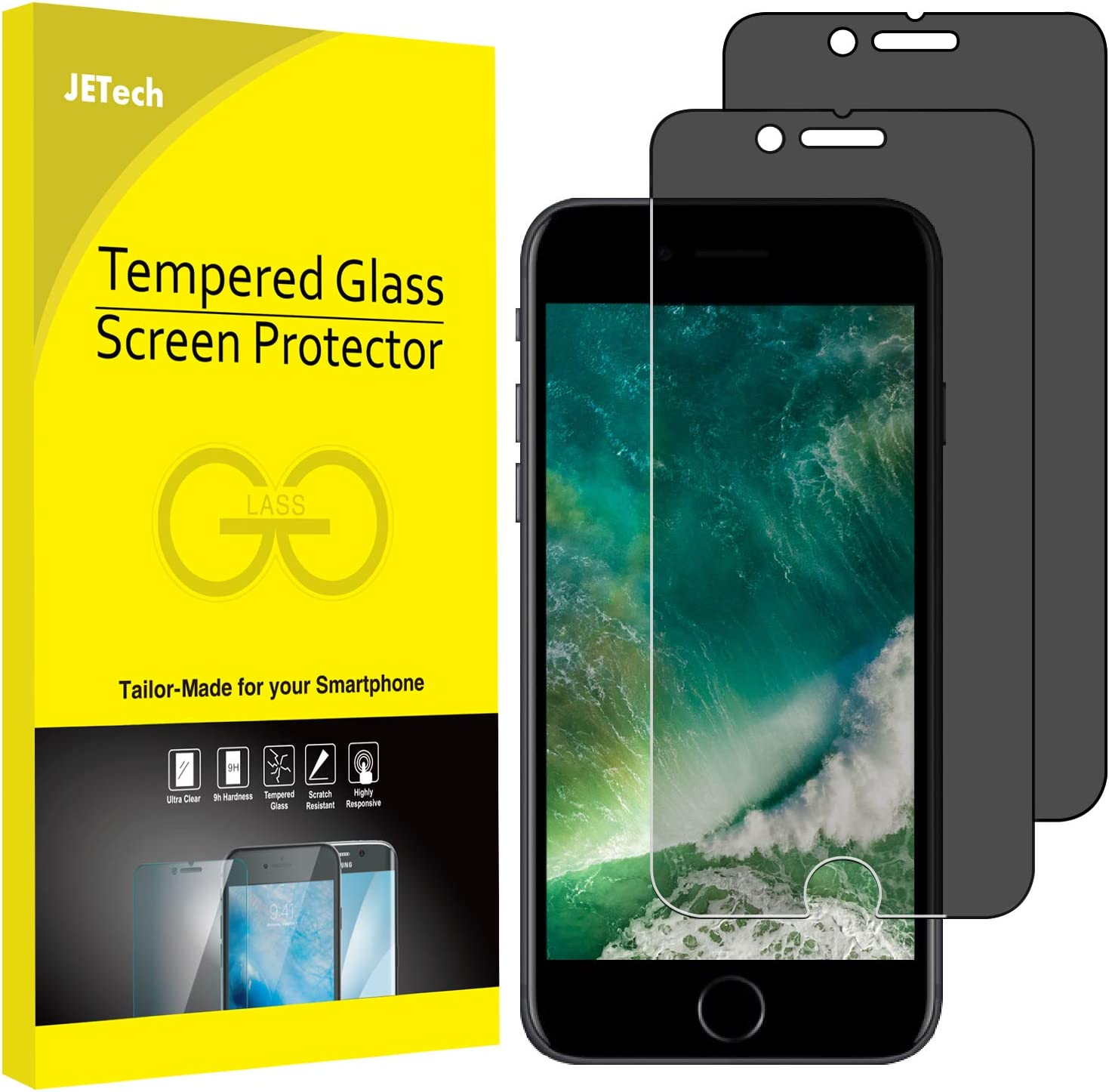 JETech Privacy Screen Protector for iPhone 8 Plus and iPhone 7 Plus, Anti-Spy Tempered Glass Film, 2-Pack