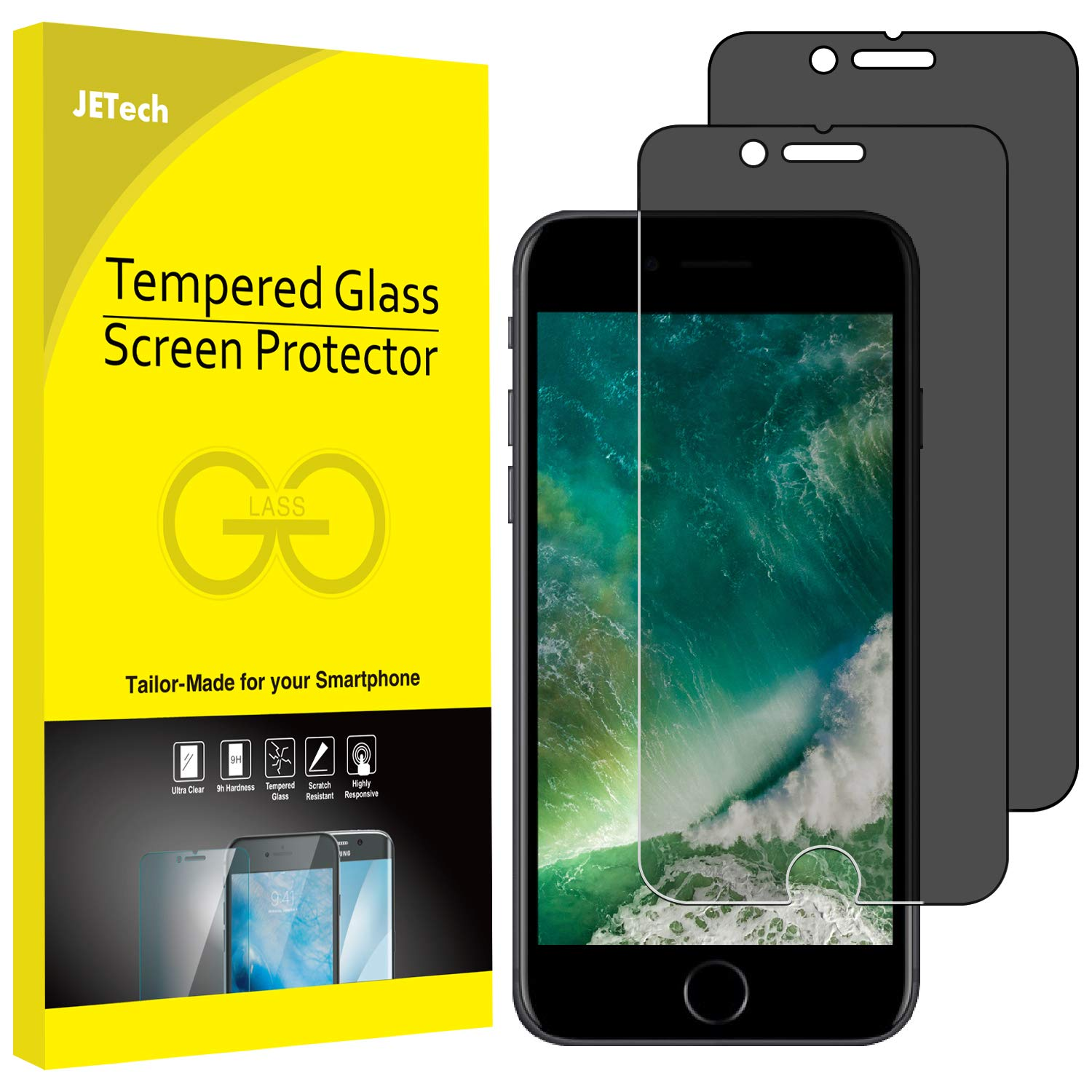 JETech Privacy Screen Protector for iPhone 8 Plus and iPhone 7 Plus, Anti-Spy Tempered Glass Film, 2-Pack by JETech