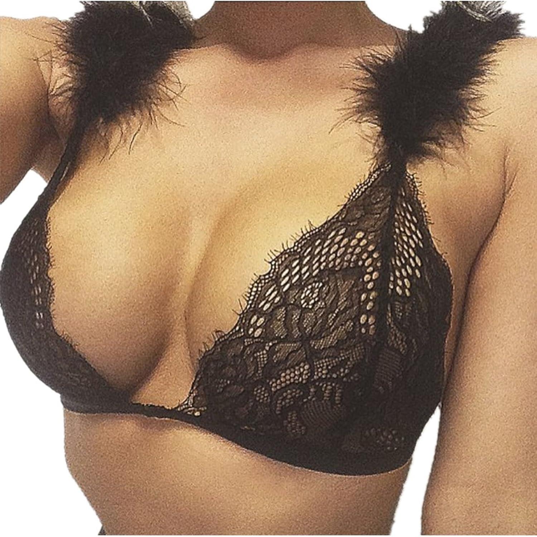 EMIN Damen Sexy Bra Unterwäsche Transparent Spitze Bikini Sexy Push-up Bikini Oberteil Schwarz
