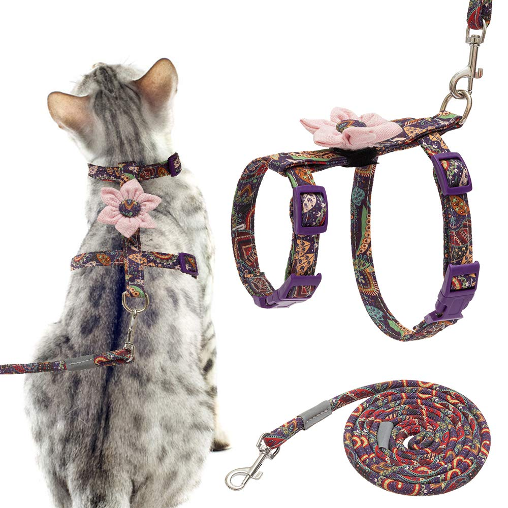 EXPAWLORER Cat Escape Proof Harness with Leash Set – with Detachable Pink Flower Paisley Pattern H Style Harness for…