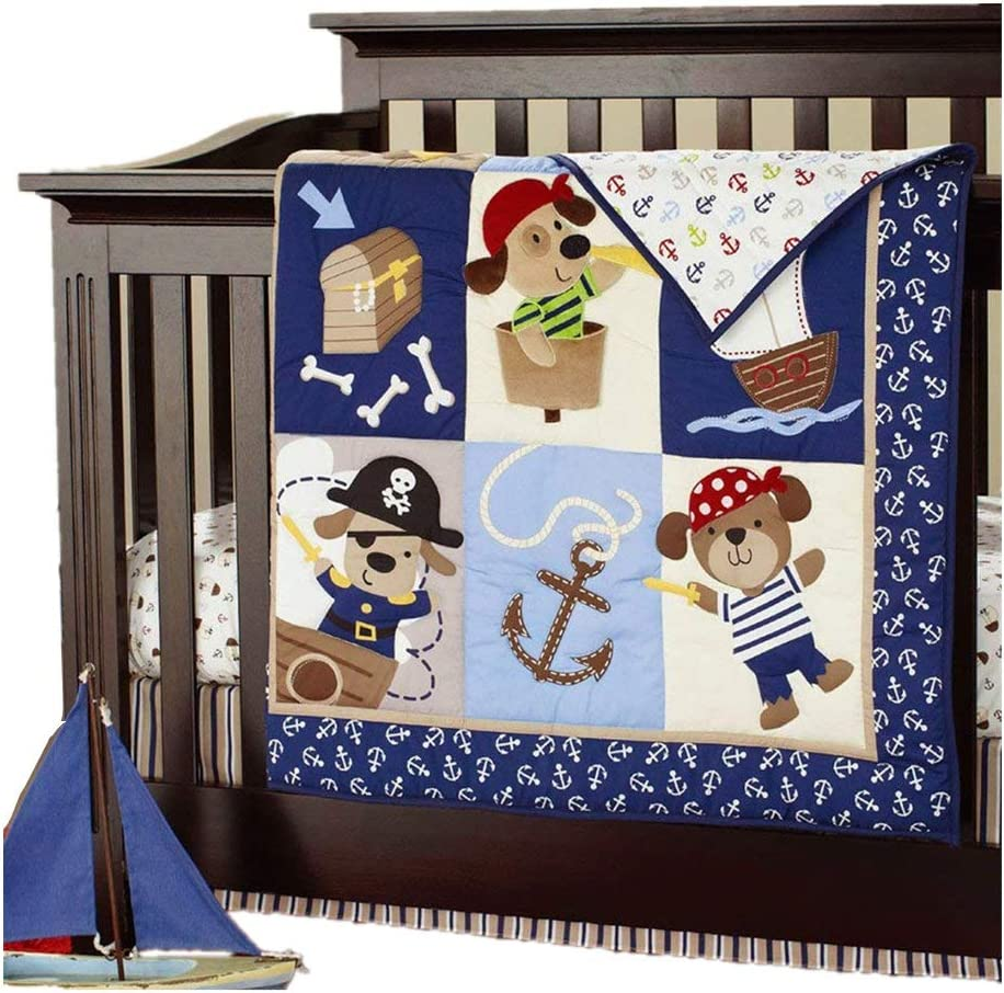 Nautical Crib Bedding Set With Pirates