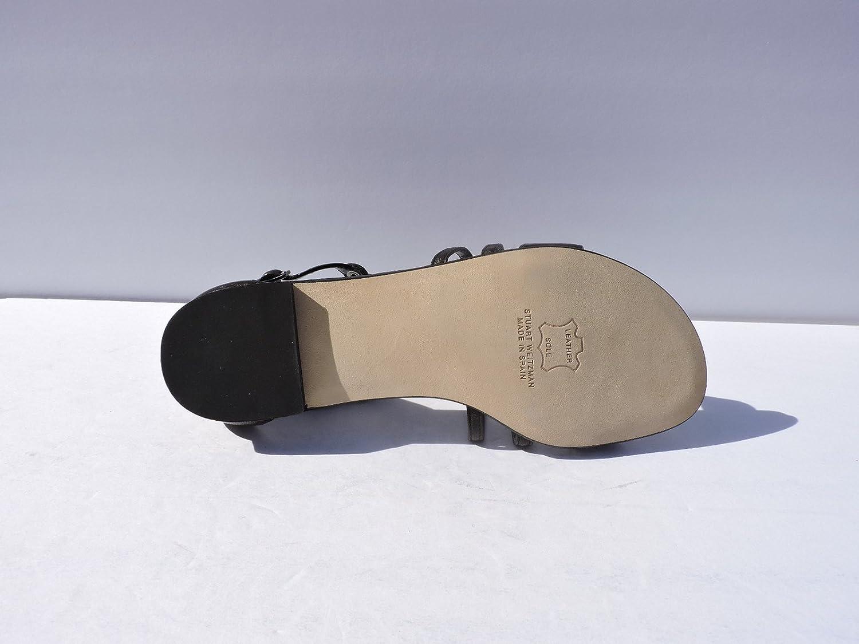 Stuart Weitzman Lowballs Womens Black Silver Ball Leather Flats Slide Sandals Size 6 M