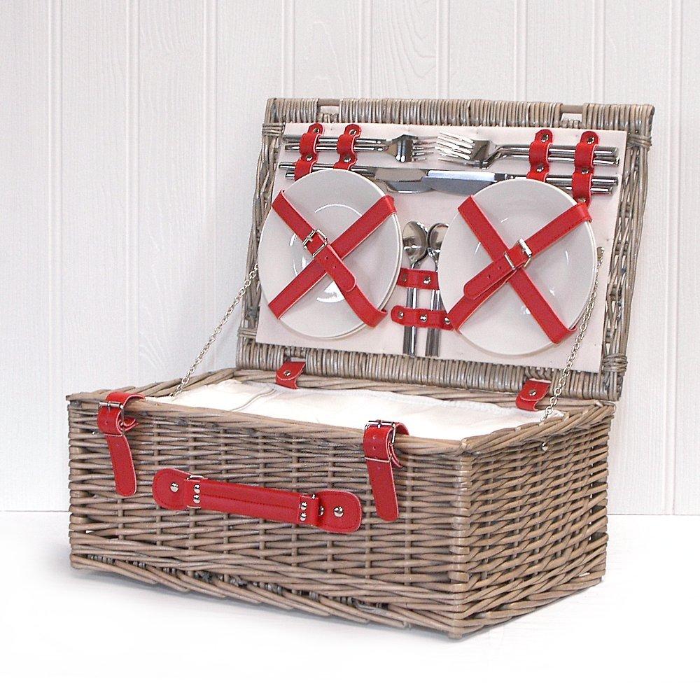 #Picknick Korb für 4 Personen in rot#