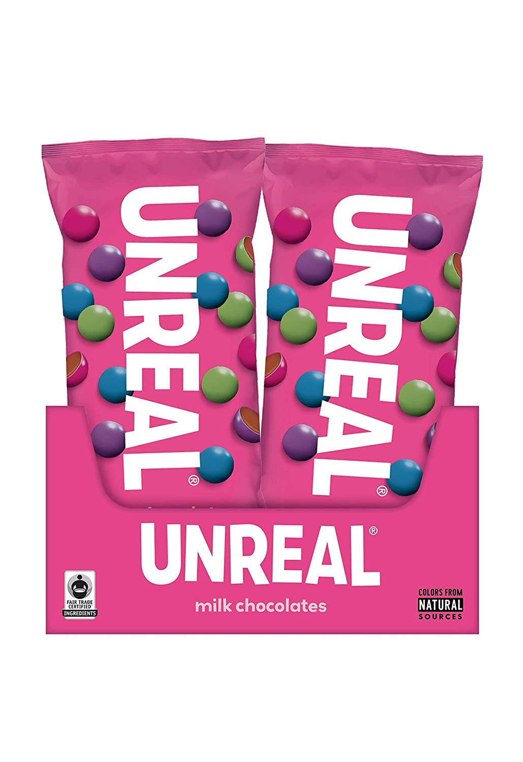 UNREAL Milk Chocolate Gems Snack Pack | Colors from Nature, rBST free, Nothing Artificial,1.5 Ounce (Pack of 12)