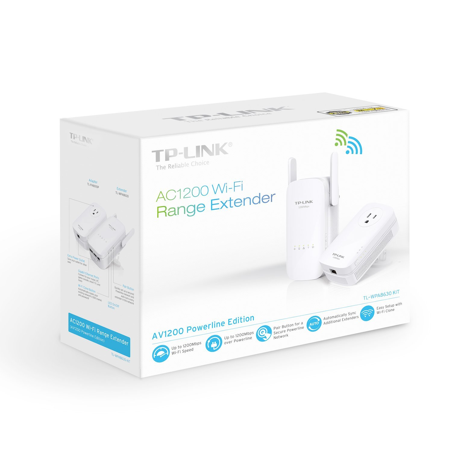 TP-Link AC1200 Wi-Fi Range Extender, AV1200 Powerline Edition, Extra Outlet (TL-WPA8630 KIT) by TP-Link (Image #4)