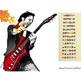 Guitare Stickers pour l'apprentissage, Alaman Code couleur Note pour guitare apprentissage, 100% de décalcomanies de guitare en vinyle pour vous aider à Apprendre à jouer de la guitare à partir