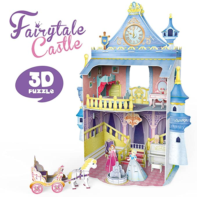 CubicFun Fairytale Castle Dollhouse 3D Puzzle Miniature DIY Kit,P809h 81 Pieces
