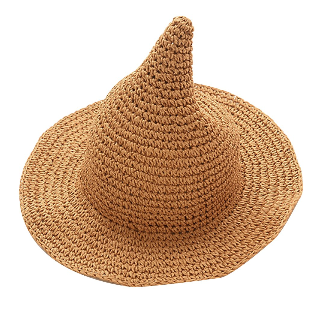 Monique Kids Cute Spire Witch Straw Sun Hat Wide Brim Sun Visor Cap for Beach Party Travel