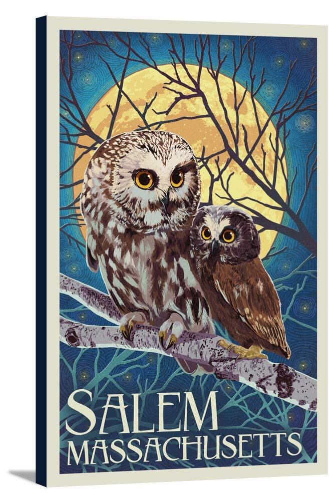 Salem、マサチューセッツ州 – フクロウとOwlet – 活版 12 x 18 Gallery Canvas LANT-3P-SC-48350-12x18 B018P4HHAS  12 x 18 Gallery Canvas