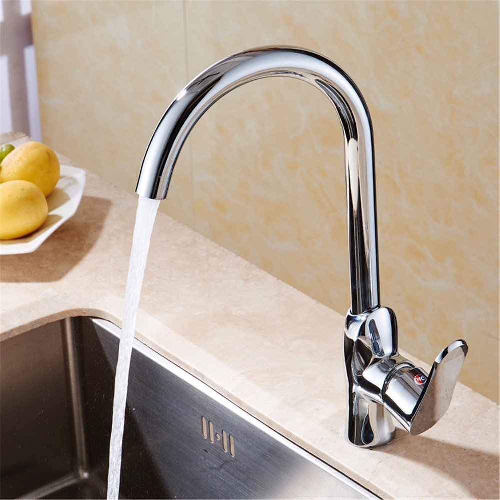durable modeling LOSTRYY Copper single handle single hole kitchen faucet hot and cold stainless steel kitchen faucet