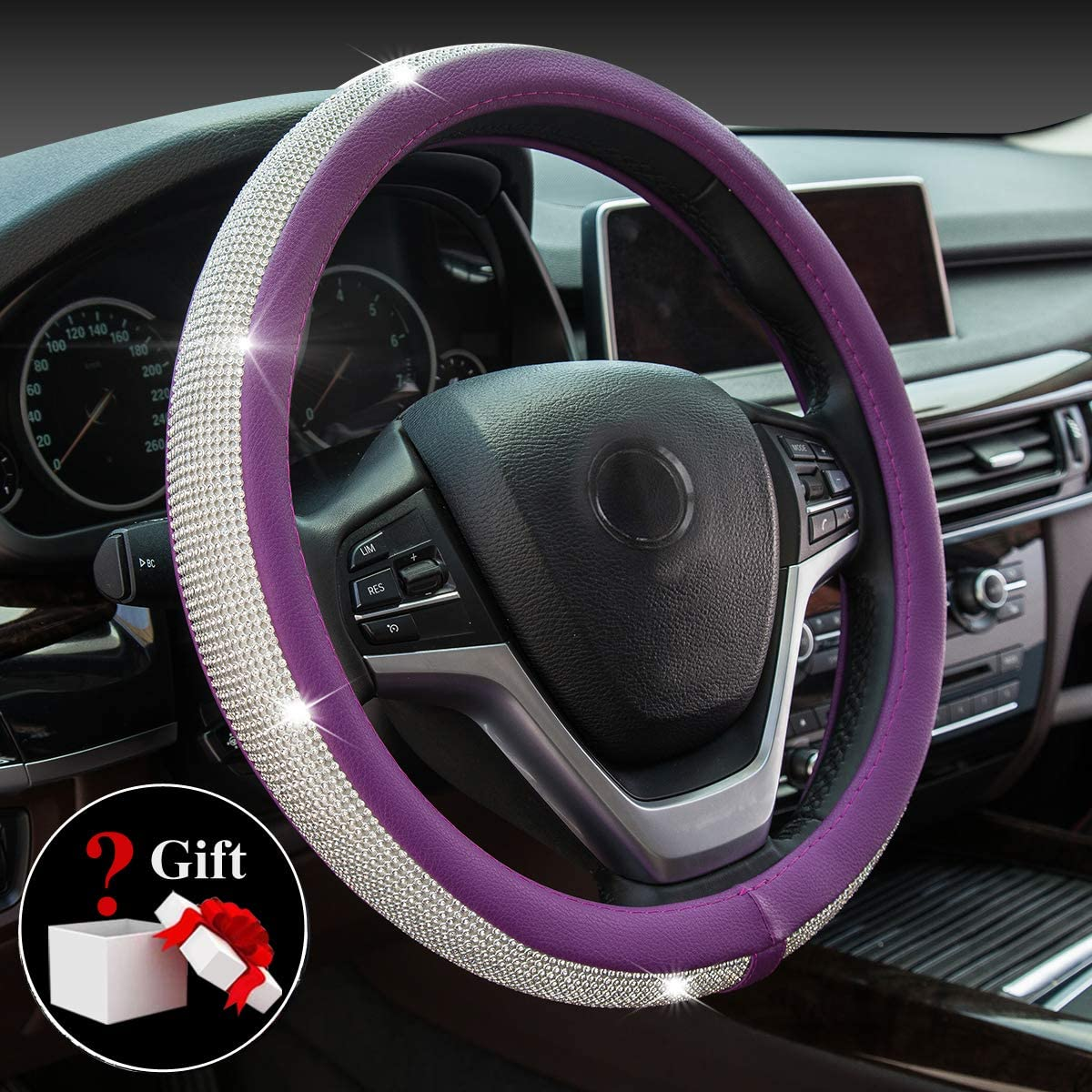 Purple Universal 15inch // 38cm for Women Girls Crystal Diamond Steering Wheel Cover PU Leather with Colorful Bling Bling Rhinestones