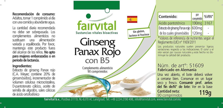Ginseng Rojo Coreano comprimidos con B5 - Altamente ...