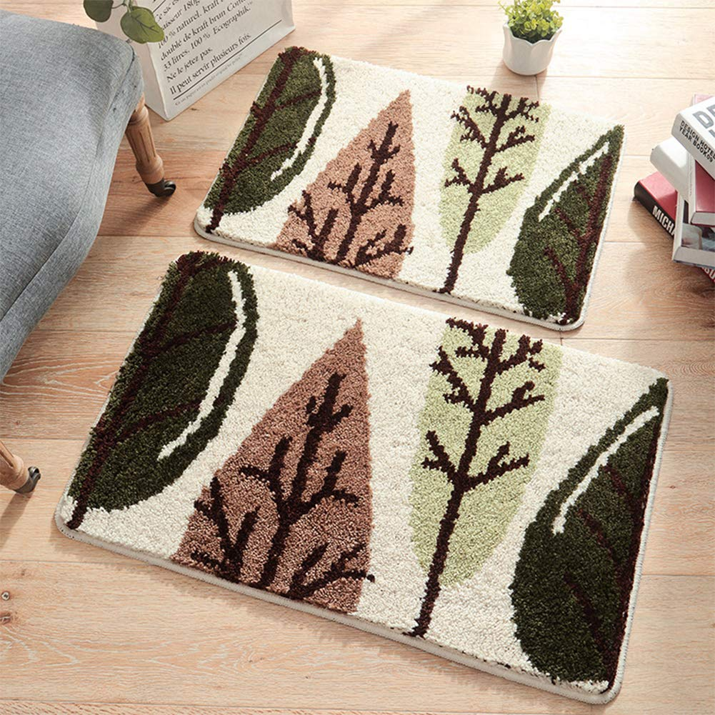 FairOnly Green Leaf Thicken Flocking Door Floor Mat Homeuse Porch Anti-Skid Mat Toilet Footpad Forest 4565cm by FairOnly