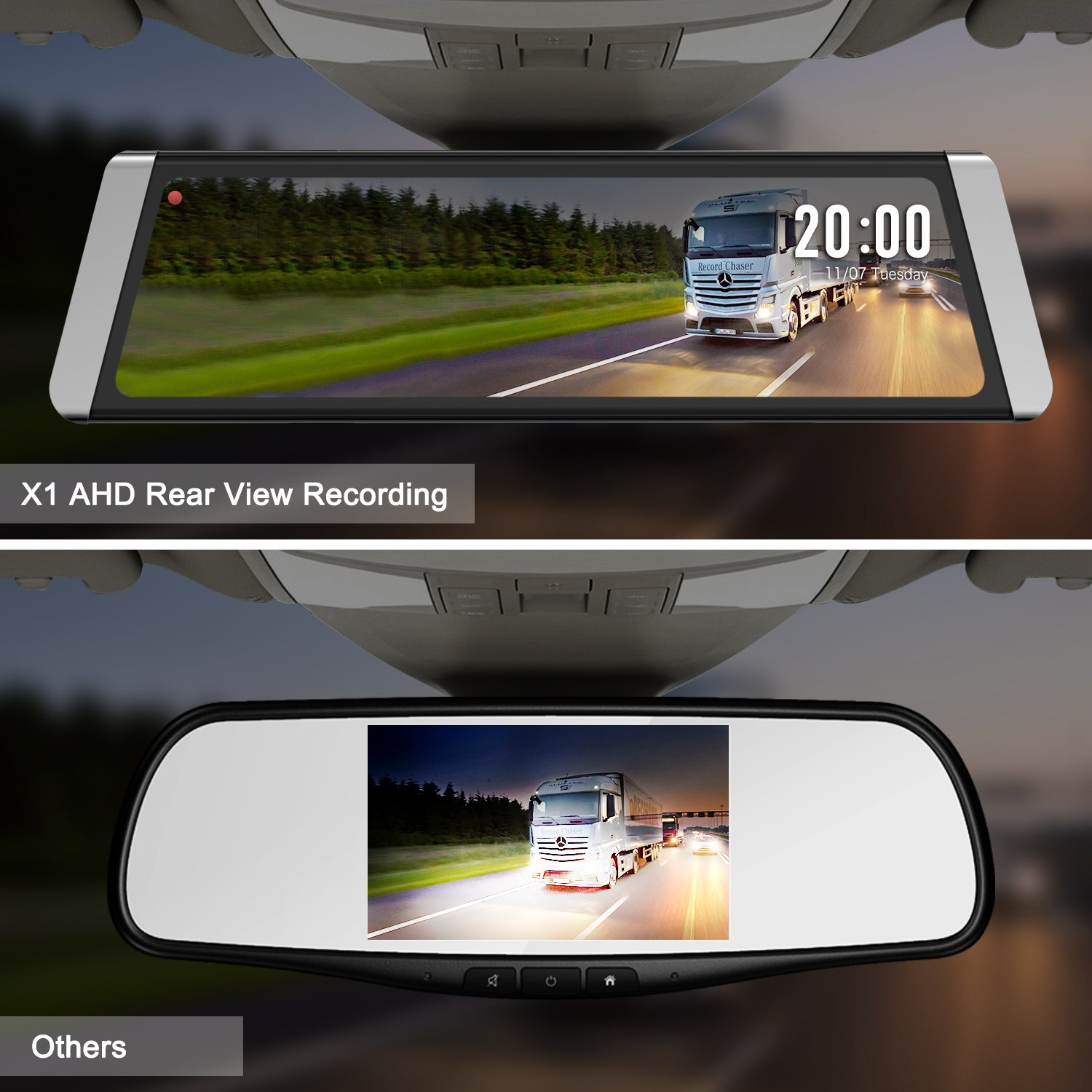 Auto Vox X1 Mirror Dash Cam Backup Camera 988full 2006 Subaru Outback Wiring Touch Screen Stream Media Dual Lens Ahd Reverse Camera1296p Fhd Front And 720p Rear