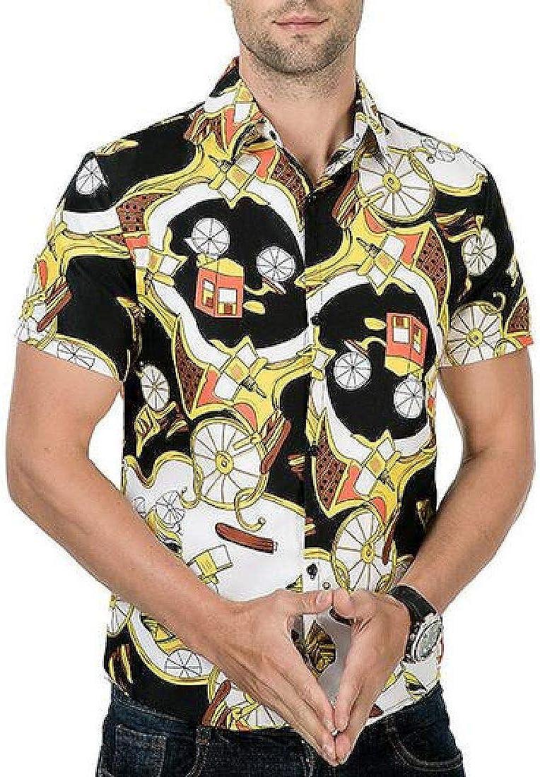 Rrive Mens Hawaii Short Sleeve Beach Button Front Slim Shirts