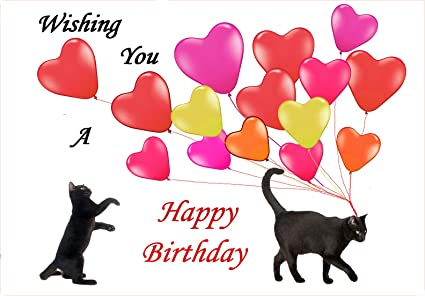 Amazon Birthday Greeting Cards Black Cats And Balloons