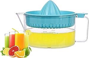 WisyLLC Citrus Orange Lemon Squeezer, Manuel hand juicer with measuring cup and greater plastic 600ml (Blue)