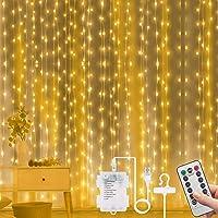Vicloon Led-lichtgordijn, 3 m x 3 m, 300 leds, USB-gordijnlichten met afstandsbediening, IP65 waterdicht, 8 modi, warm…