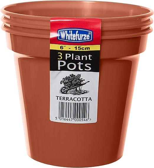 Whitefurze Strong Plastic Terracotta 4 Litre Garden Growing Plant Pot 20cm