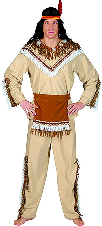 Halloweenia - Indianer Kostüm mit mit mit Fransen und Federn für Herren, L, Mehrfarbig 1f538a