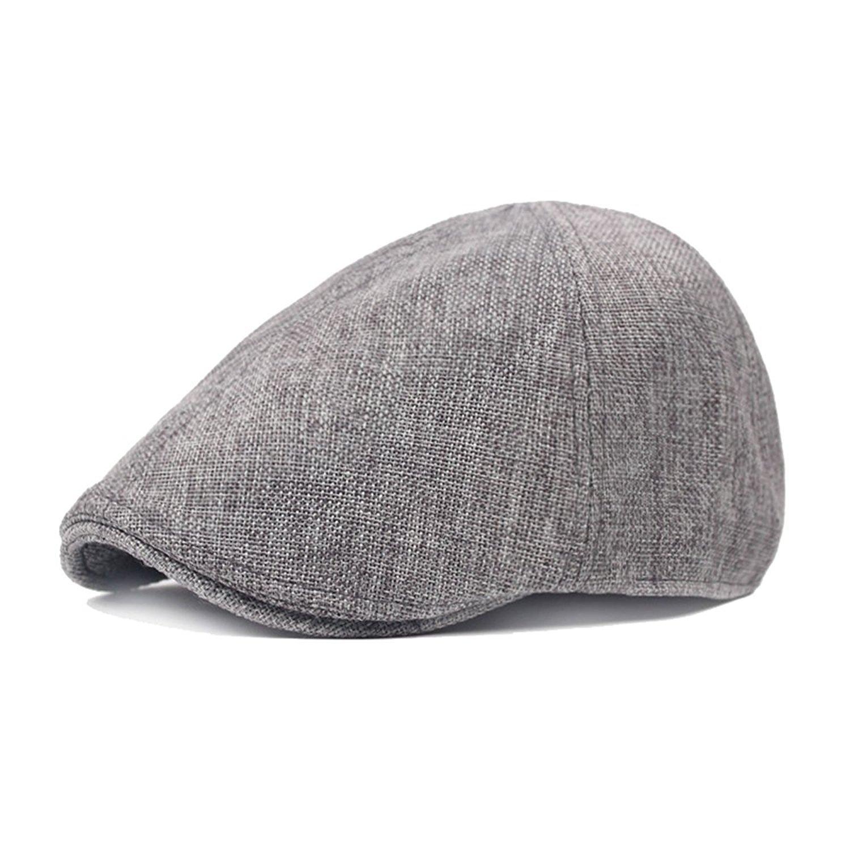 Moore Mens Herringbone Cotton Tweed Newsboy Ivy Cabbie Driving Hat Cap