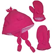 N'Ice Caps Little Girls and Baby Soft Sherpa Lined Micro Fleece Pilot Hat and Mitten Set (Fuchsia Bow, 4-7 Years)