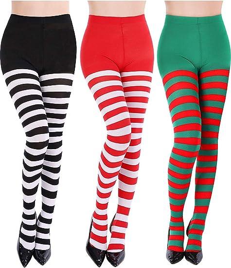 Halloween Christmas Wide Striped Stockings Lady Fancy Dress Over The Knee Socks