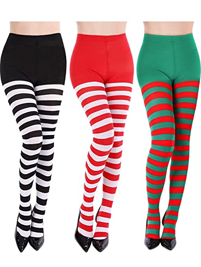 413ee40e9d4fbd 3 Pairs Striped Tights Full Footed Striped Socks Thigh High Stockings for  Women Christmas Cosplay(