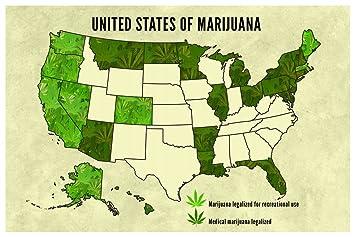 united states of marijuana legalization 2016 updated map poster 12x18