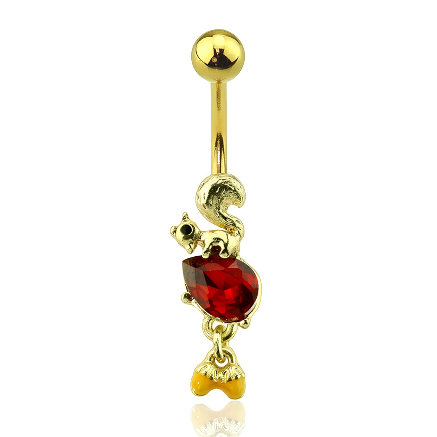 Little Aiden Gold Plated Squirrel Just Looking for a Dangle Nut with Red CZ Navel Belly Ring Size 14GA 3//8