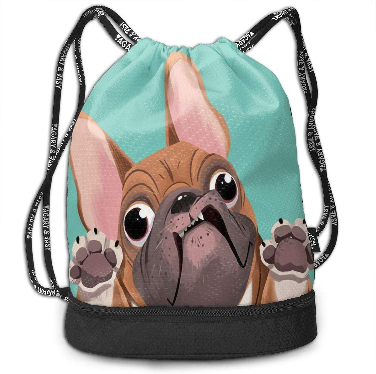 Drawstring Backpack Bulldog Puppy Dog Gym Bag