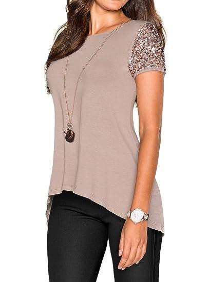 8148a0cd0a8ee WLLW Women Khaki Asymmetric Hem Short Sleeve Sequin Inserts Shirt Top at  Amazon Women s Clothing store
