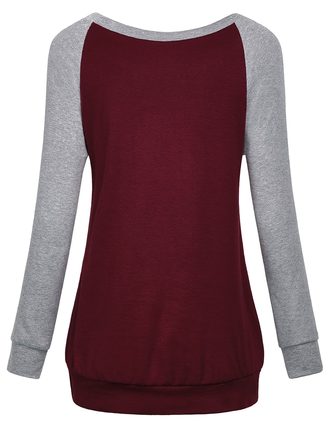 Cestyle Casual Sweaters for Women, Fall Long Sleeve Round Neck Splice Shirts Sports Loose Fit Cotton Knitted Cute Tunic Sweatshirts Loft Clothing Wine X-Large by Cestyle (Image #2)