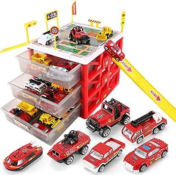 AOTE-D Juego De Ingeniería Estacionamiento Autobuses Caja Almacenamiento Diapositivas Señal Advertencia Luz Señal Coche Juguete Niños Camión Portátil con Toy,Red: Amazon.es: Deportes y aire libre