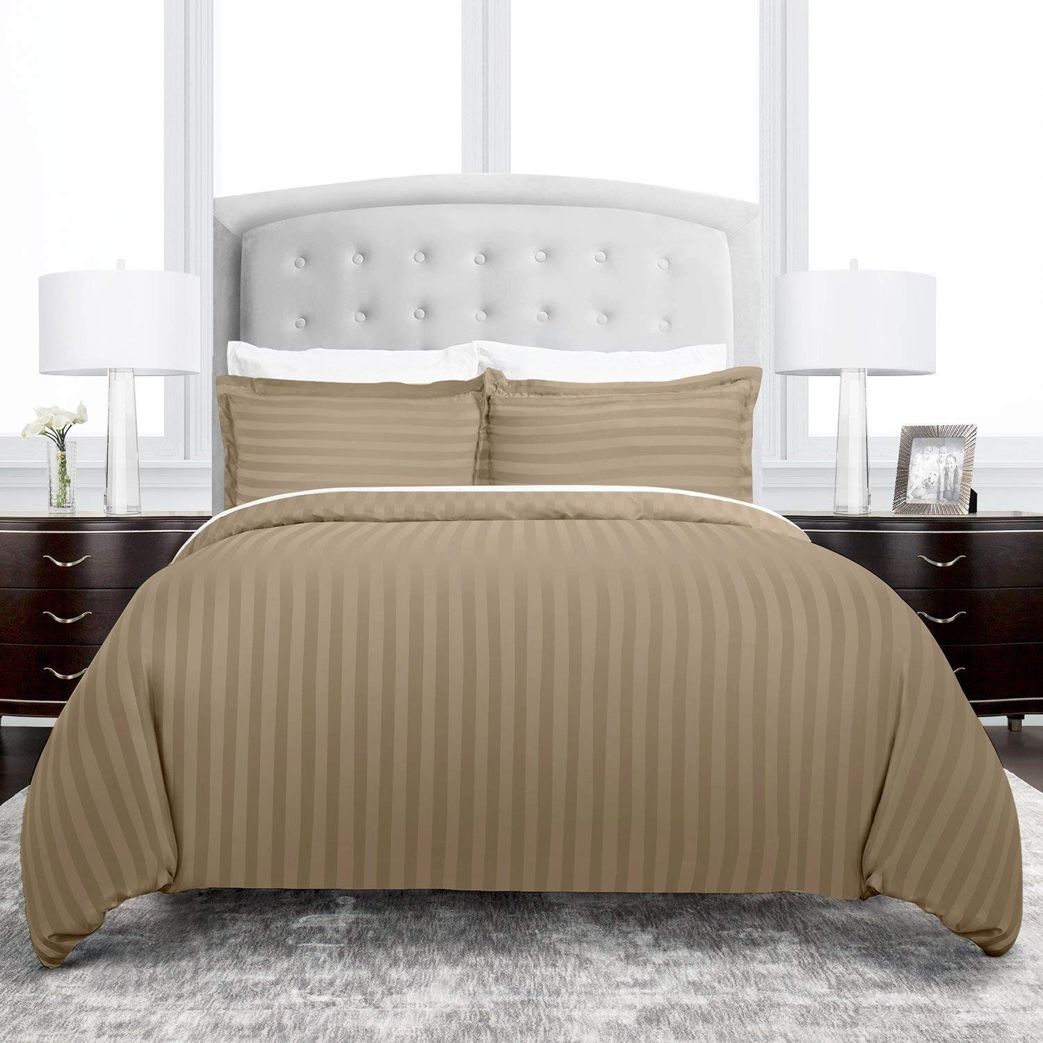 Beckham Hotel Collection 2200 Series Dobby Striped Duvet Cover Set - Luxury Soft Brushed Microfiber with Matching Shams - Hypoallergenic -Full/Queen - Taupe