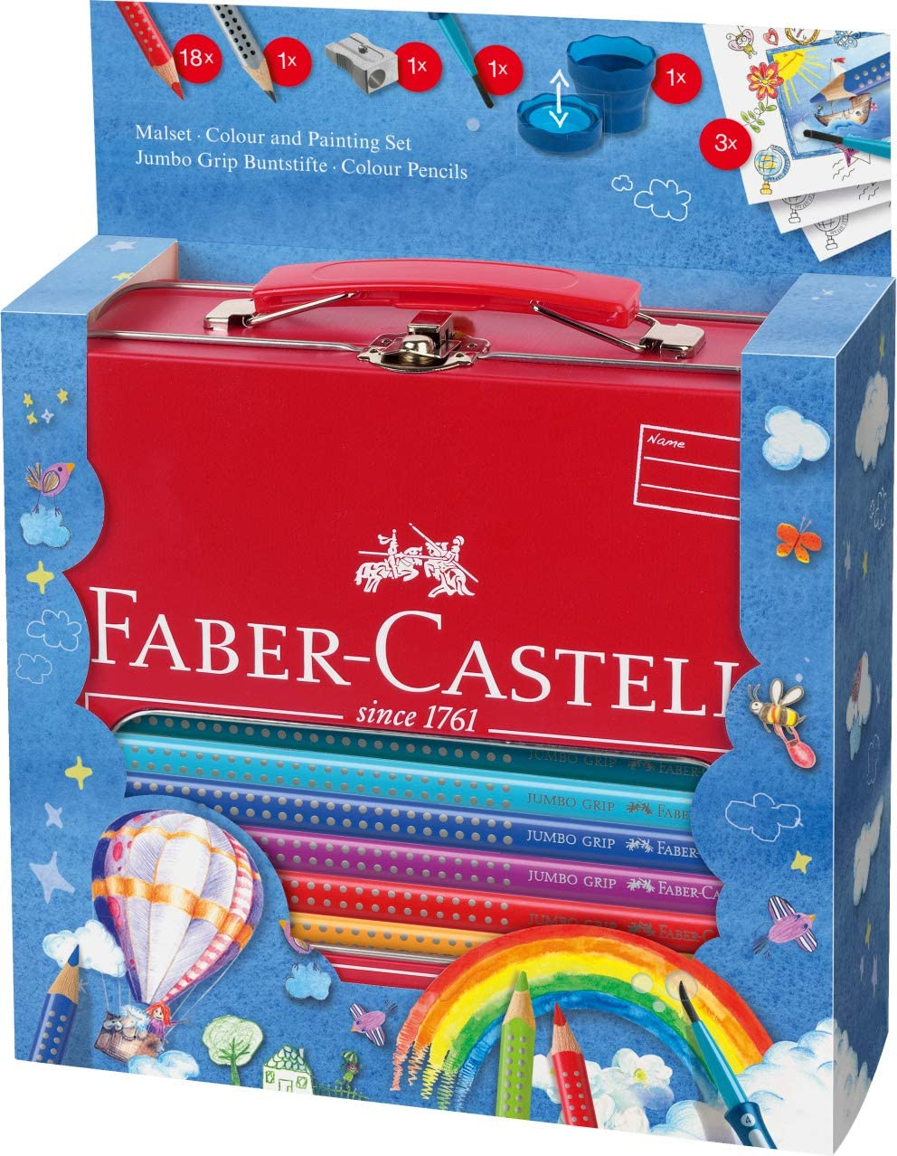 Faber-Castell 201312 - Maletín escolar de metal con 18 ecolápices de colores jumbo Grip, 1 ecolápiz triangular de grafito jumbo Grip, 1 pincel Clic&Go, 1 vaso de agua Clic&Go y 1 afilalápices