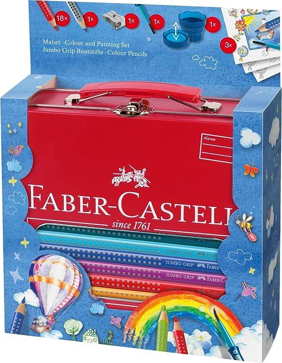 Faber-Castell 201312 - Maletín escolar de metal con 18 ecolápices de colores jumbo Grip, 1 ecolápiz triangular de grafito jumbo Grip, 1 pincel Clic&Go, 1 vaso de agua Clic&Go y 1 afilalápices: Amazon.es: Oficina y papelería