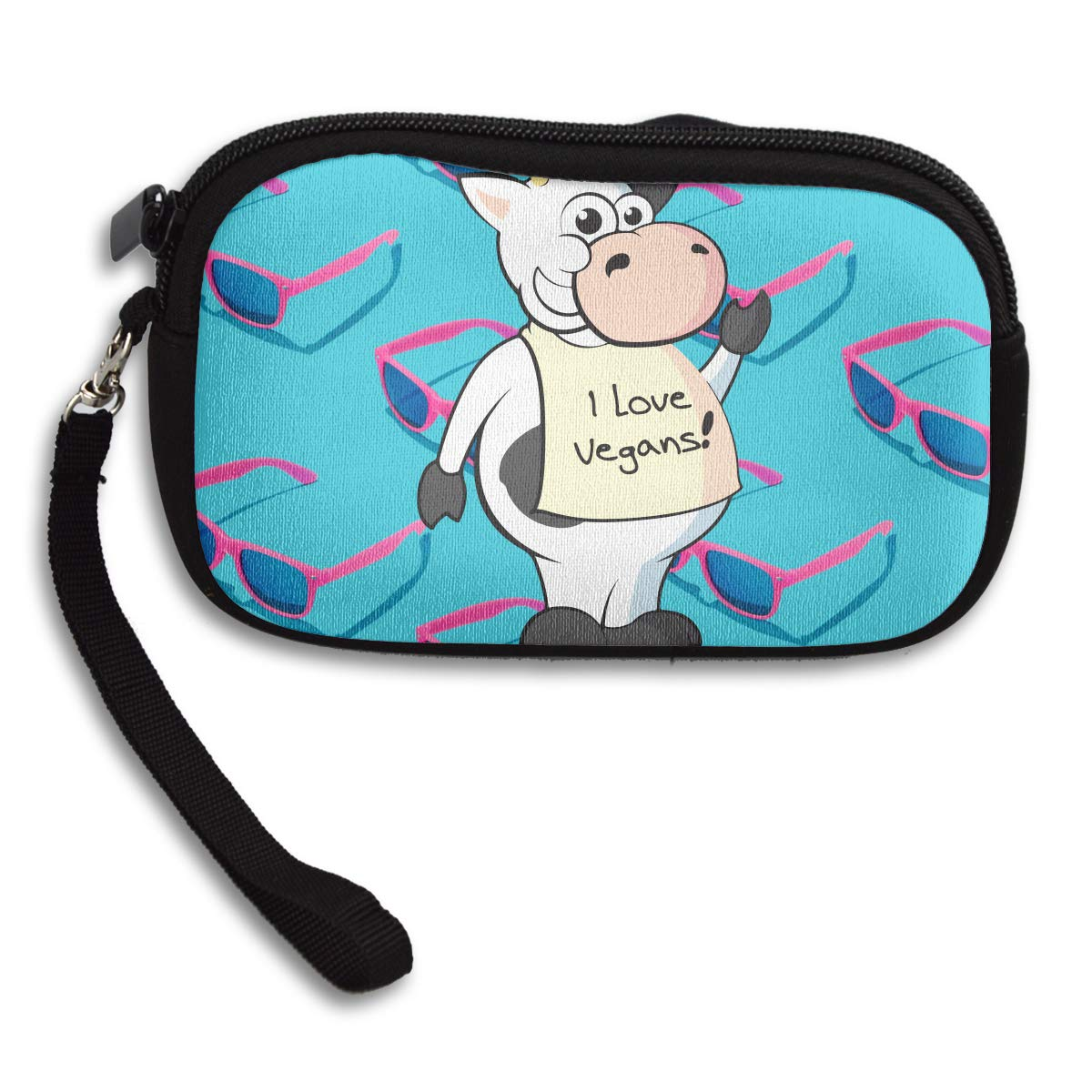 Cow I Love Vegans Deluxe Printing Small Purse Portable Receiving Bag