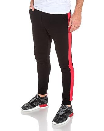 acheter pas cher ecefa 05316 Frilivin - Pantalon de Jogging Noir Bande latérale Rouge ...