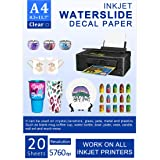 Water Slide Decal Paper Inkjet 20 Sheets A4 Size Premium Water Slide Transfer Paper Clear Transparent Printable…