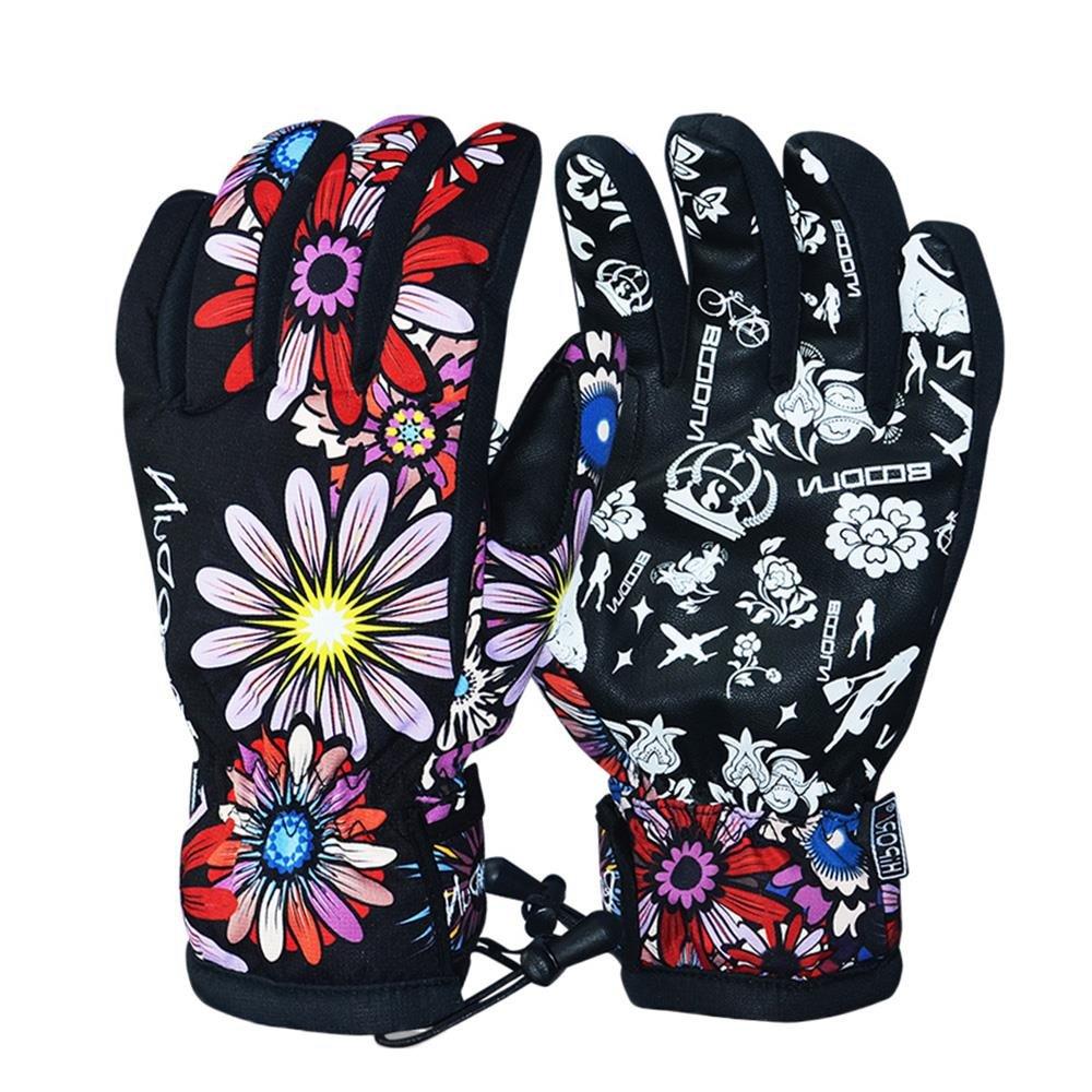 vertast Wowen resistente al agua de invierno cálido guantes de esquí snowboard guantes de camuflaje al aire libre antideslizante motocicleta manoplas guantes, negro