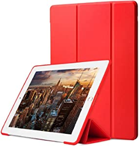 "DuraSafe Cases for iPad 4 / 3 / 2 - 9.7"" A1458 A1459 A1460 A1403 A1416 A1430 A1395 A1396 A1397 Smart Tri Fold Lightweight Cover with Soft Silicone Back - Red"