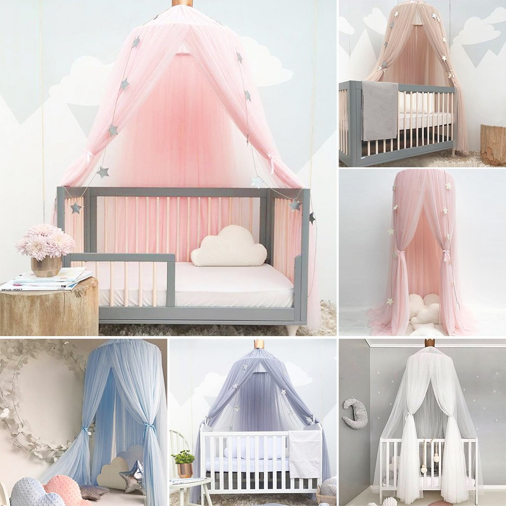 Samber Mosquito Net Bed Canopy Play Tent Bedding for Kids Playing Children Round Lace Dome Netting Curtains Bed Mantle Baby Boys Girls Games House Pink