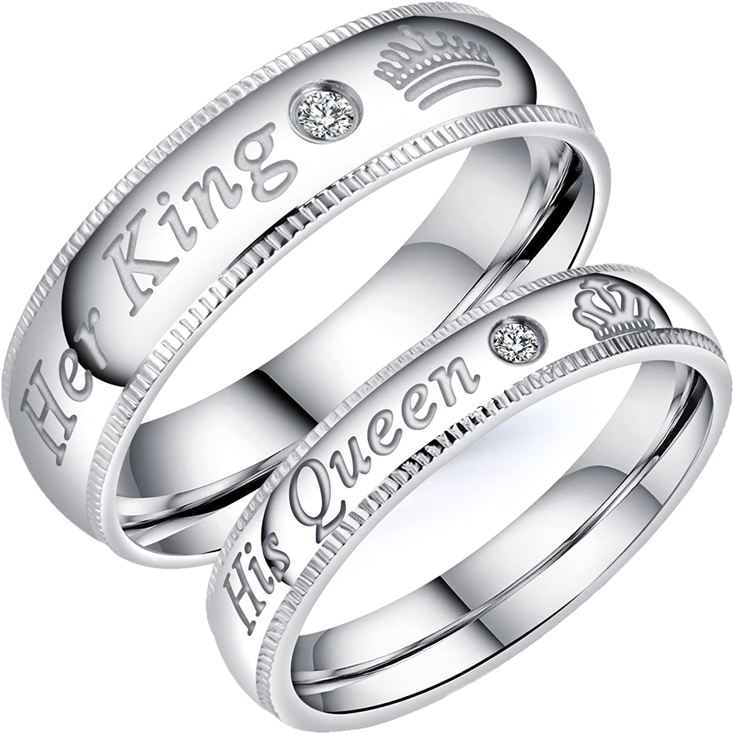 Fashion Ahead 2pcs Silver Matching Couple Wedding Rings Set His