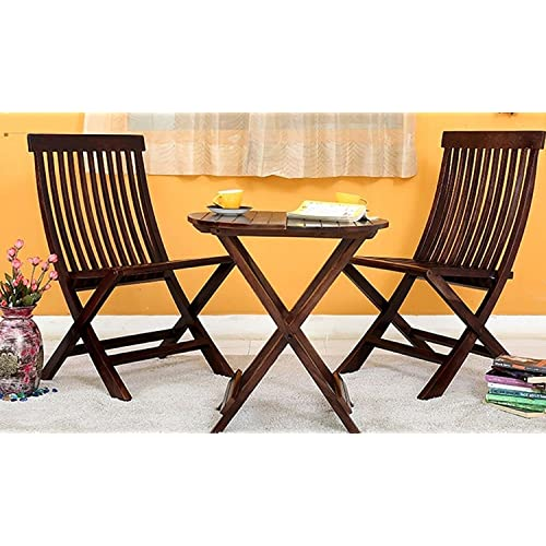 Mamta Decoration Set Of 3 Piece Dining Set Cappuccino Folding Chair And  Round Table (Walnut